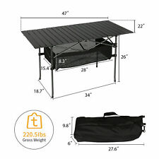 Portable Folding Table Picnic Camping Bench Aluminum In/Outdoor Compact Camp BBQ