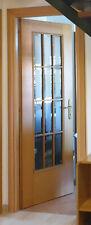Porta da interno in legno tamburato e vetro, rovere biondo, 210x70