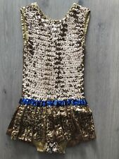 Gold Ice Figure Skating Competition Dress Adult Small Sequins