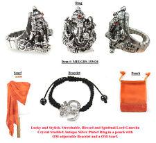 Lord Ganesha Stretch ring, Om Bracelet with Om Scarf, Set