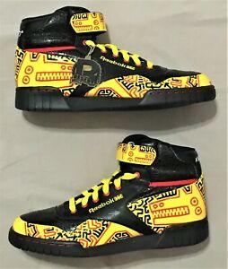 Reebok Keith Haring Ex-O-Fit Plus Hi yellow black red graffiti shoes hi tops NEW