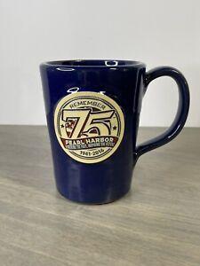 2016 DENEEN POTTERY Coffee Mug REMEMBER 75 PEARL HARBOR Blue RARE