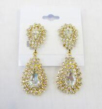 Gold Rhinestone Clear Crystal Dangle CLIP ON Earrings #5031-1 Wedding Bridal