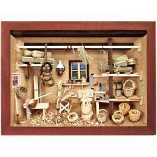 German 3D Wooden Shadow Box Picture Diorama Basket Weaver Weaving Workshop