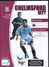 2001/02 CHELMSFORD CITY V CRAWLEY TOWN 24-11-2001 Dr Martens League