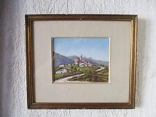 Superbe ancienne aquarelle miniature tableau de montagne XIXe Alpes Briançon Gap