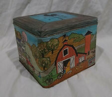 Farmhouse/Country Kitchen Decorative Square Tin/Container-Red Barn/Rooster/Vane