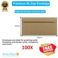 100x DL Recycled Brown Kraft Envelopes 100% Recycled Premium Quality Peel N seal