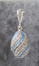"Egg Pendant,Blue Swirl Enamel, Sterling Silver & CZ Crystals # 371,1 1/8"""