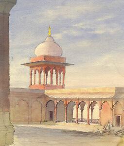 Islamic Courtyard – Original early 20th-century watercolour painting