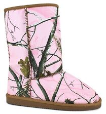 Girls Pink Mossy Oak Look Boots- Pink Camo Size 2