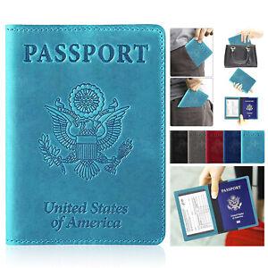 Travel Passport Holder Wallet Holder RFID Blocking Leather Card Cover Case New
