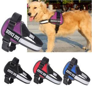 Pet Service Dog Vest Walk Strap Harness & Removable Patches Adjustable Collar