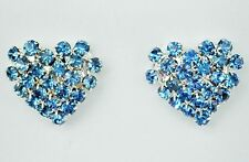 Heart shaped blue crystal silver tone stud earring 15 x 15mm buttefly backs