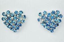 Heart shaped blue crystal silver tone stud earring 15 x 15mm buttefly backs