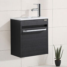 "16"" Bathroom Vanity Wall Mounted Black Single Cabinet w/ Resin Basin & Faucet"