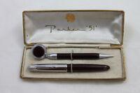 Vintage Burgundy Parker 51 Fountain Pen Pencil Set Box w/ Ketcham McDougall Clip