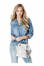 ..GUESS.. MALENA SATCHEL SILVER SG622105-INCREDIBLY CHICK!