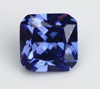 8X8MM 3.82CT AAAAA Blue Zircon Gems Square Faceted Cut VVS Loose Gemstone