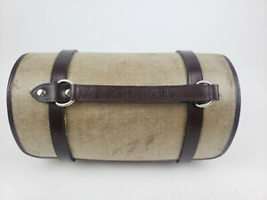 Vintage Rare Chanel Hemp & Leather Barrel Tote Bag