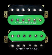 Guitar Parts GUITARHEADS PICKUPS ZBUCKER HUMBUCKER - SET 2 - BLACK & GREEN ZEBRA