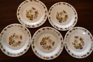 5 ARCOPAL Side Plates - Brown Onion design - 18.5cm diameter - France