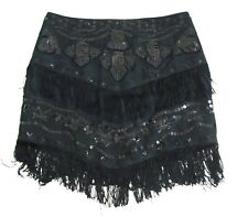 NWOT JUICY COUTURE Black sequin Skirt Frill Thrills Paisley Summer Size 4