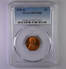 1941-D Wheat cent - PCGS MS 67 Red - Gem BU PQ - No Reserve!!