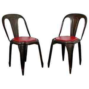 Mid Century Modern Pair of Fibrocit Stacking Bistro Chairs Metal France 1950s
