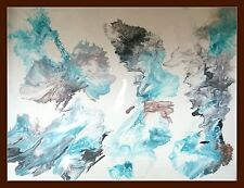 1000x750 Modern Teal Aqua wht Hand Painted Seascape Abstract Canvas Painting Art