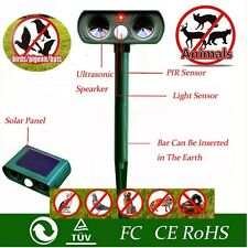 New SOLAR Dual Ultra Sonic Garden Animal Scarer PIR Deterrent Cat Dog Repeller