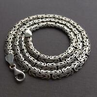 Men King Byzantine Bali Flat Chain Necklace 925 Silver Sterling 7mm 78gr 22Inch