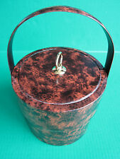 Vtg Brown Marbled Granite Design Ice~Bucket Picnic Barware Events Party Kitchen