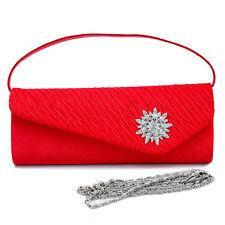 New Womens Handbag Pleated Satin Evening Clutch Day Bags Purse Crossbody Bag Red