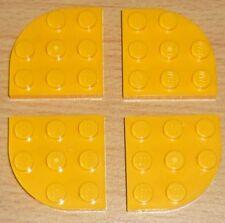 Lego City 4 Platten 3 x 3 halb runde Ecken in hell orange