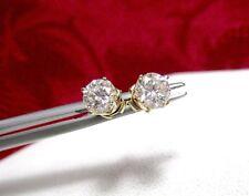 14K YELLOW GOLD CLASSIC 1CT ROUND DIAMOND STUDS EARRINGS