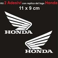 Kit 2 Adesivi Honda Moto Stickers Adesivo 11 x 9 cm decalcomania BIANCO
