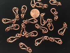 TEN (10) 25MM Bali-Style SOLID COPPER Hook & Eye Clasps