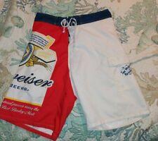 Calhoun Mens Large (30-36 in Waist) Red Budweiser Beer  Swim Trunks