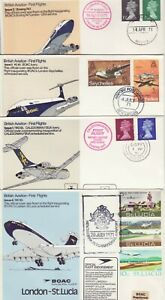 GB Stamps Aviation Souvenir Covers X 4 BOAC First Flights, VC10, Boeing 747 1971