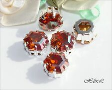3 Swarovski 10mm Chilli Pepper Crystal 4730 Hexagon Sew On Sterling S/P Gold Red
