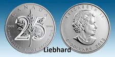 5$ Silber / Silver Kanada Jubiläum Sonderausgabe 25 Jahre Maple Leaf 2013 1 OZ
