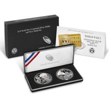 2018 Proof World War I Silver Dollar Navy Medal 2pc Set Box OGP & COA