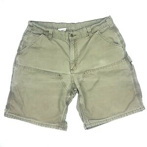 Women's Brown Carhartt Work Distressed Shorts Double Knee Size 36 x 20.5