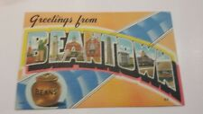 Greetings From Beantown,MA Boston Pot Of Beans c1940s Linen Postcard Unused!