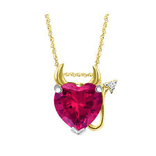 "3/4 Ct RUBY 14K Yellow Gold Over Devil Heart Pendant 18"" Chain Christmas Gift"