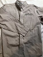 HARLEY DAVIDSON Men's Embroidered Long Sleeve Brown Striped Button Down Shirt M