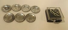 "Vintage Dollhouse Miniature Metal Plates Silvertone Qty of 7 Some Germany 1"" Dia"