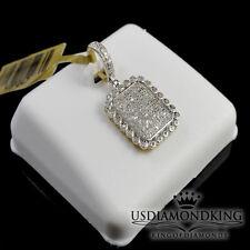 10K LADIES YELLOW GOLD .40CT GENUINE REAL DIAMOND SQUARE FRAME PENDANT CHARM