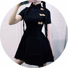 Japonés Negro Gótico Lolita Harajuku Vintage Slim Vestido cheongsam chino Estilo
